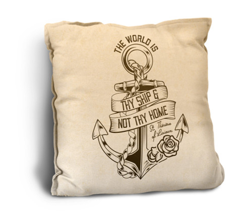 The World is Thy Ship Rustic Pillow