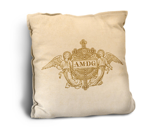 AMDG Angels Woodcut Rustic Pillow