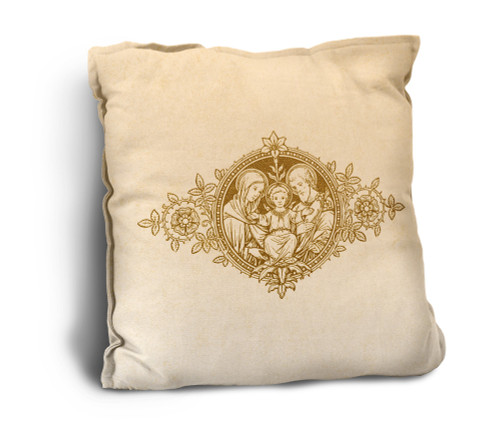 Holy Family Woodcut Rustic Pillow