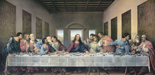 Full Sized Restored Last Supper by Da Vinci Indoor Outdoor Aluminum Print