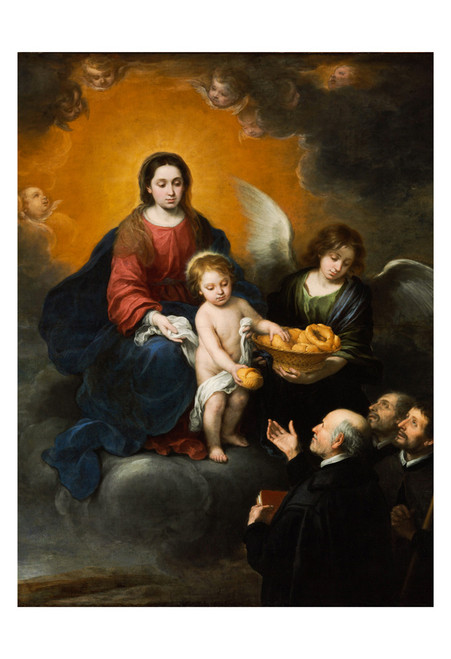 The Infant Christ Distributing Bread to Pilgrims by Murillo Print