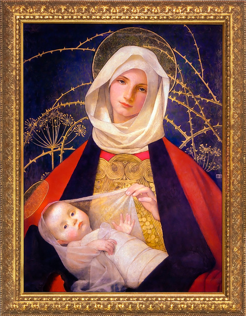 Madonna and Child by Marianne Stokes - Gold Framed Art