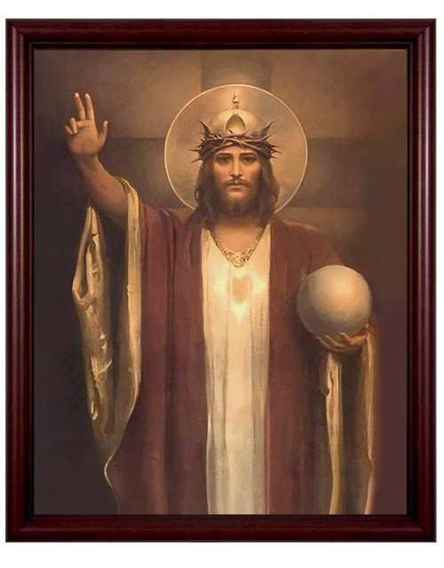 Christ the King by Chambers Restored - Cherry Framed Art