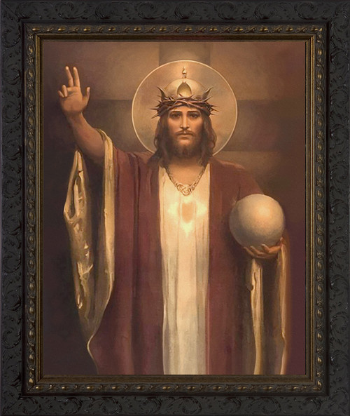 Christ the King by Chambers Restored - Ornate Dark Framed Art