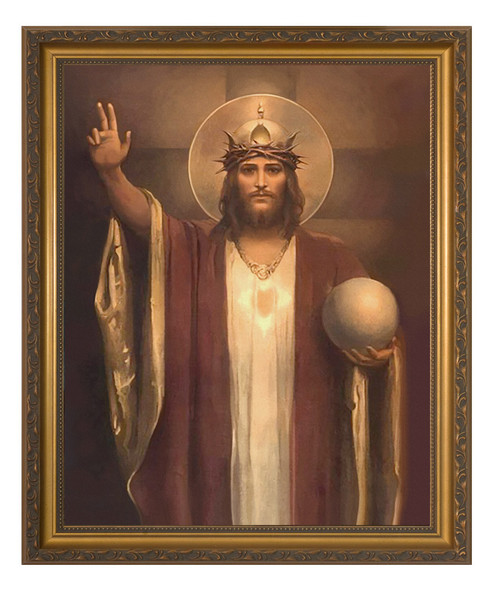 Christ the King by Chambers Restored - Gold Framed Canvas