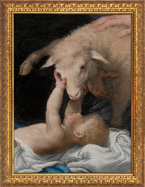 Adoration of the Shepherds (Detail) by Lorenzo Lotto - Gold Framed Art