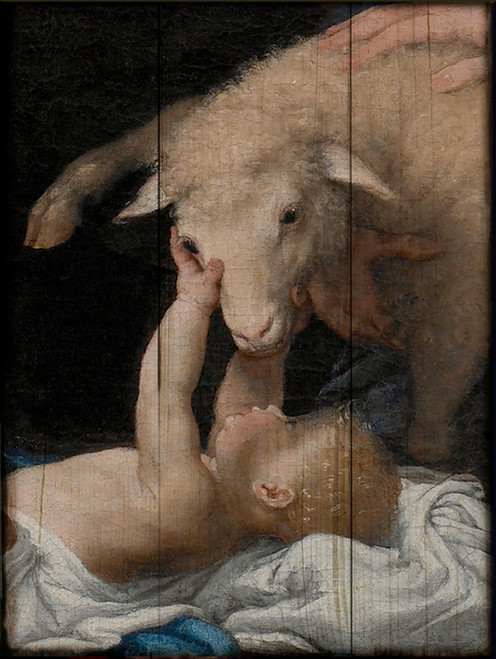 Adoration of the Shepherds (Detail) by Lorenzo Lotto Rustic Wood Plaque