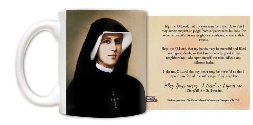 """Saint Faustina """"Help me, O Lord"""" Mug"""
