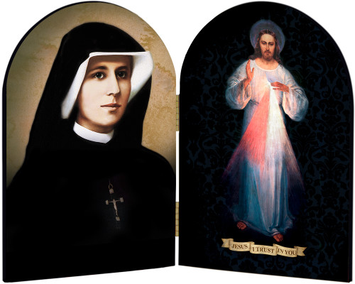 St. Faustina - Divine Mercy Arched Diptych
