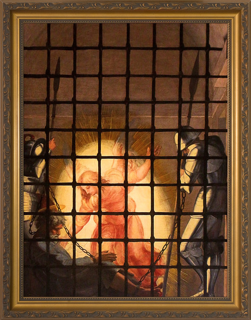 The Liberation of St. Peter by Raphael - Gold Framed Art