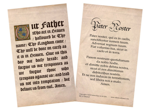 Latin-English Our Father Holy Card