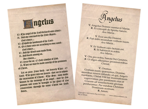 Latin-English Angelus Holy Card
