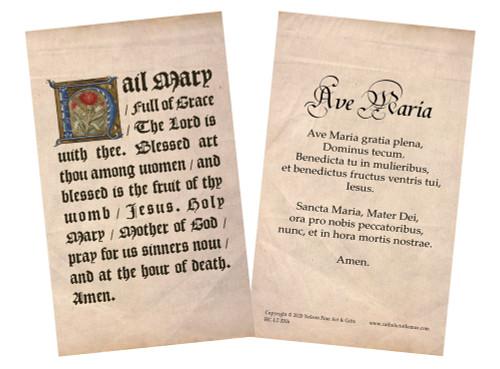 Latin-English Hail Mary Holy Card