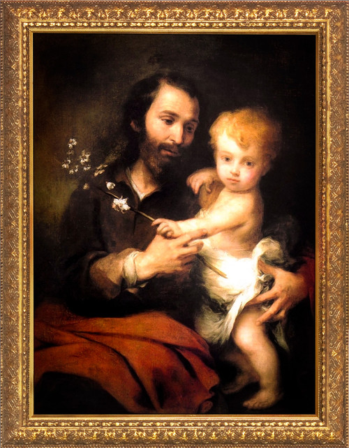 St. Joseph and the Christ Child by Murillo - Gold Framed Art
