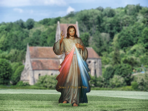 Divine Mercy Outdoor Lifesize Display