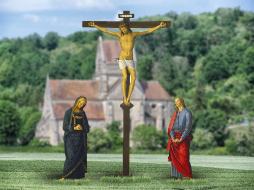 Crucifixion with Mary and St. John Outdoor Lifesize Display