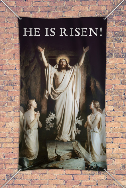 """He is Risen"" Outdoor Vinyl Banner"