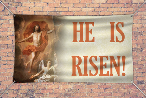 """He is Risen"" Horizontal Outdoor Vinyl Banner"