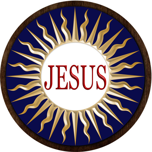 Jesus Emblem Outdoor Poly Wood Plaque