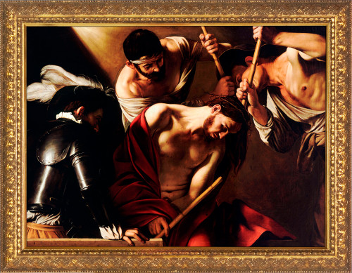 Crowning of Thorns by Caravaggio- Gold Framed Art