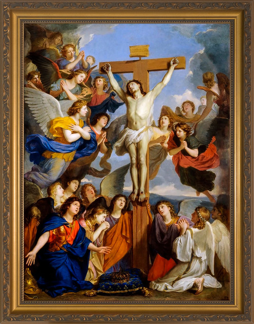 Crucifixion with Angels by Charles le Brun - Gold Framed Art