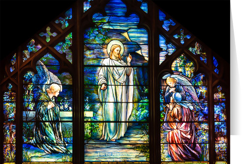 Tiffany Stained Glass Resurrection with Angels Greeting Card