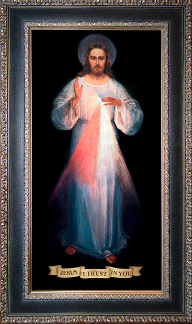 LIMITED EDITION Vilnius Divine Mercy - Black and Antique Metallic Framed Canvas