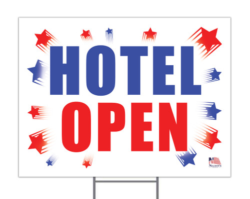 Hotel Open Yard Sign