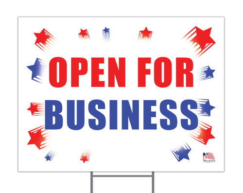 Open For Business Yard Sign