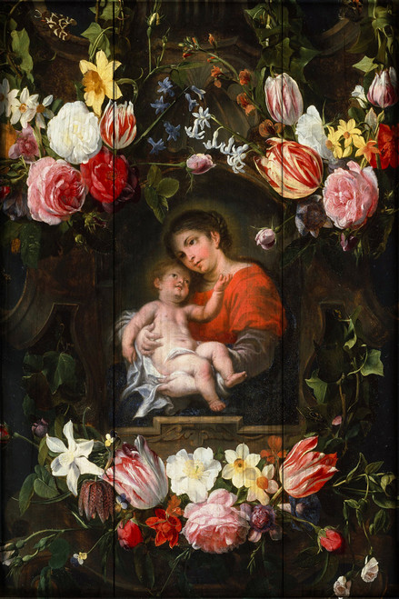 Bouquets of Flowers with Madonna and Child Rustic Wood Plaque