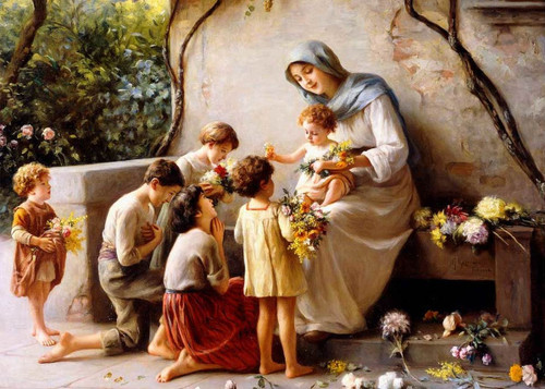 LIMITED EDITION Adoration (Mary and Jesus with Children) by Giuseppe Magni Canvas in Assorted Frames