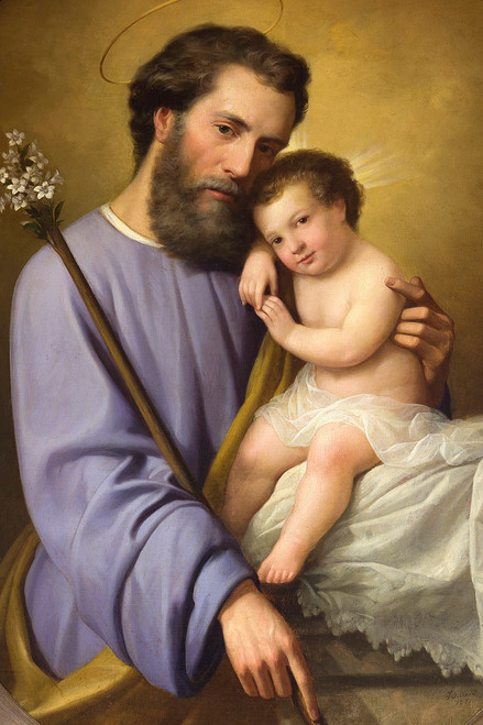 LIMITED EDITION St. Joseph and the Infant Jesus by Ricardo Balaca Canvas in Assorted Frames