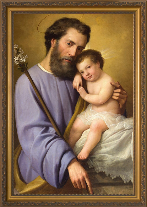 St. Joseph and the Infant Jesus by Ricardo Balaca - Gold Framed Canvas