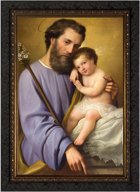 St. Joseph and the Infant Jesus by Ricardo Balaca - Ornate Dark Framed Canvas