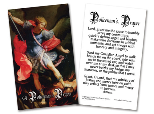 FREE Laminated Policeman's Prayer Holy Cards