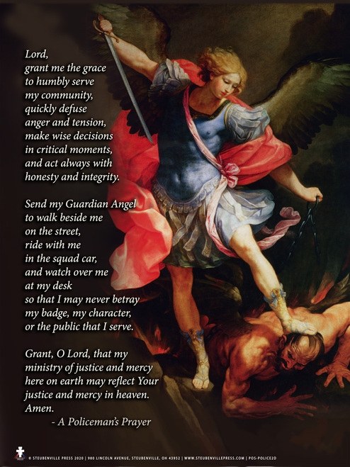 St. Michael the Archangel with Policeman's Prayer Poster