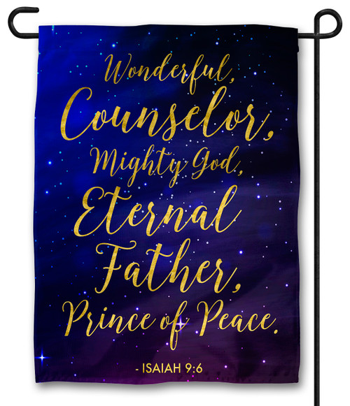 Isaiah 9:6 with Starry Night Outdoor Garden Flag