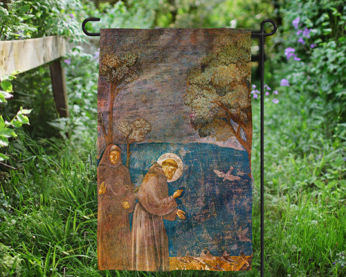 St. Francis with Birds Outdoor Garden Flag