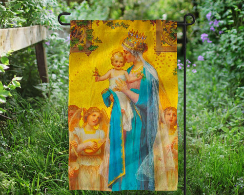 Madonna and Child by Enric M. Vidal Outdoor Garden Flag
