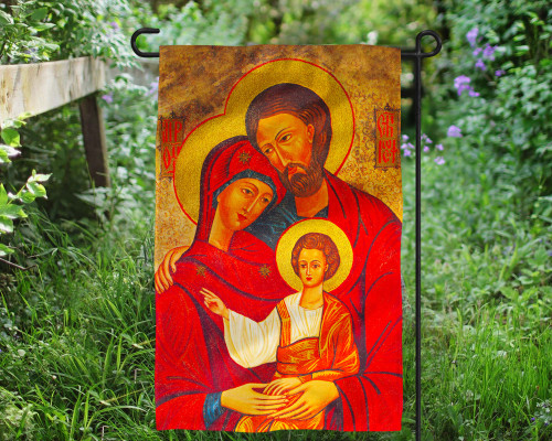 Holy Family Icon Outdoor Garden Flag