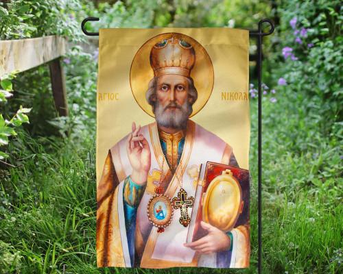 Saint Nicholas Icon Outdoor Garden Flag