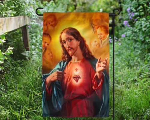 Sacred Heart of Jesus Outdoor Garden Flag