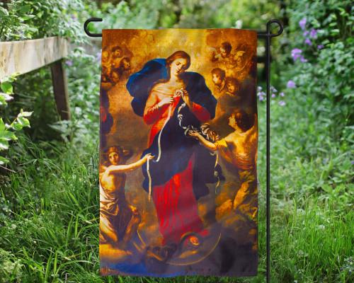 Mary, Undoer of Knots Outdoor Garden Flag