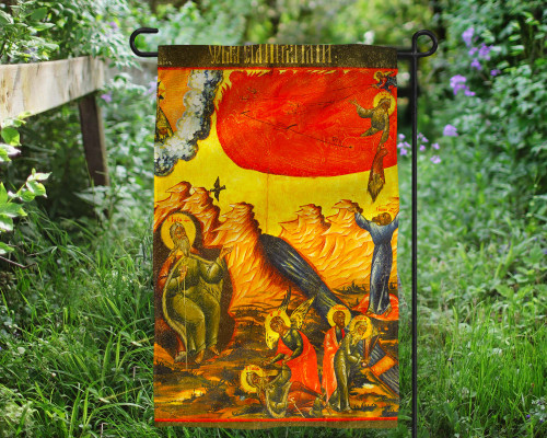 Scenes From the Life of Elijah Icon Outdoor Garden Flag