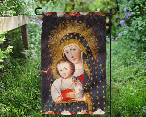 Madonna and Child with Bird Outdoor Garden Flag