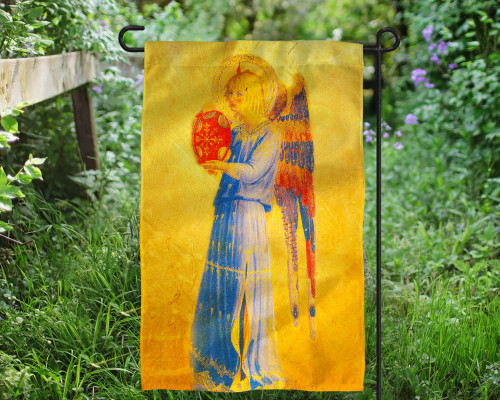 Fra Angelico Angel with Tambourine Outdoor Garden Flag