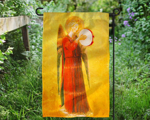Fra Angelico Angel with Tambourine II Outdoor Garden Flag