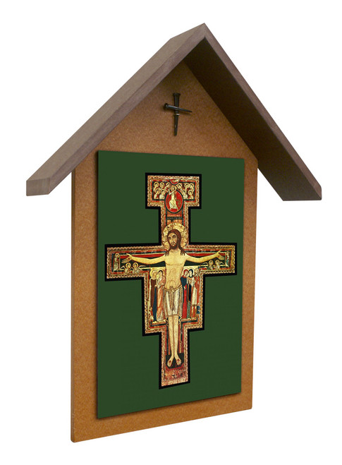San Damiano Simple Poly Wood Outdoor Shrine