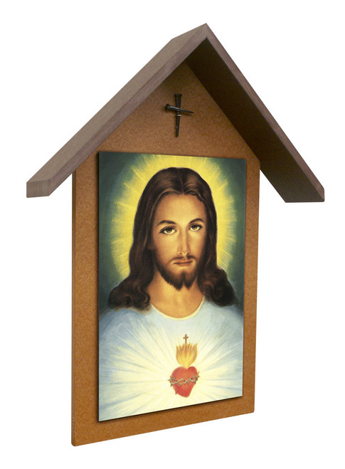 Traditional Sacred Heart Simple Poly Wood Outdoor Shrine