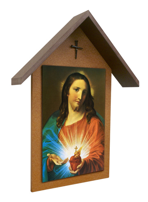Sacred Heart Holding Heart Simple Poly Wood Outdoor Shrine